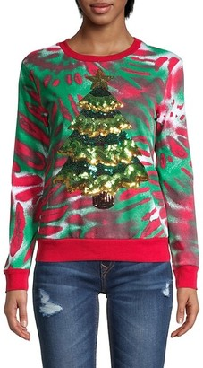 Miss Chievous Sequin Christmas Tree Tie-Dye Sweatshirt