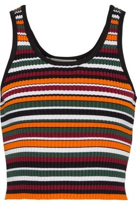 3.1 Phillip Lim Cropped Striped Ribbed-knit Top