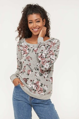 Ardene Brushed Floral Sweater with Lace Back