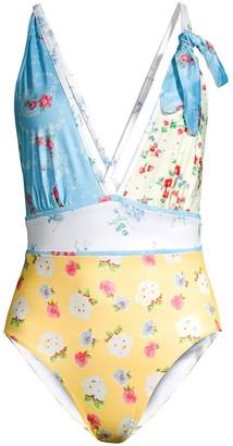 LoveShackFancy Millicent Floral Plunge One-Piece Swimsuit
