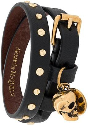 Alexander McQueen Hammered Studs Double-Wrap Bracelet