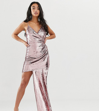 Asos DESIGN Petite cami all over sequin mini dress with ruched side-Pink