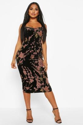 boohoo Devoure Floral Hook & Eye Midi Dress
