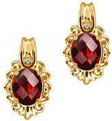 Gem Stone King 2.82 Ct Checkerboard Red Garnet and White Diamond 14k Yellow Gold Earrings