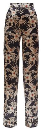 Altuzarra Bani Hawaiian-print Charmeuse Trousers - Womens - Black Print