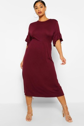 boohoo Plus Jersey Ruffle Midi Smock Dress