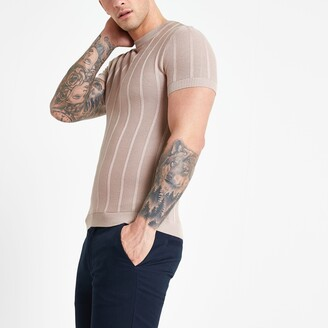 River Island Mens Pink muscle fit stitch knitted T-shirt