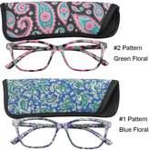 SOOLALA 2-Pair Designer 51mm Square Lens Spring Hinge Reading Glasses w/ Matching Pouch, BlueGreen, +1.75