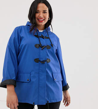 Brave Soul Plus toggle rain mac in navy