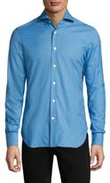 Kiton Small Check Cotton Casual Button Down Shirt
