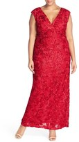Marina V-Neck Sequin Lace Empire Gown (Plus Size)