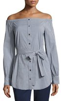 Michael Kors Gingham Off-the-Shoulder Belted Tunic