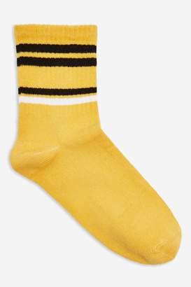 Topshop Womens Mustard Stripe Tube Socks - Mustard