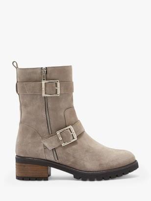 Mint Velvet Elena Suede Biker Boots, Grey