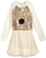 Beautees 2-Pc. Sequin Bomber Jacket & Trapeze Dress Set, Big Girls