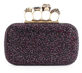 Alexander McQueen Skull Four-Ring Beaded Leather Box Clutch