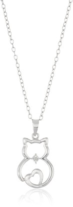 """Amazon Collection Sterling Silver Diamond Accent Cat Pendant Necklace 18"""""""