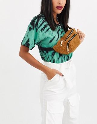 Yoki Fashion teddy faux fur bum bag-Beige