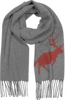 DSQUARED2 Canada Hiking Gray Wool and Cashmere Men's Long Scarf w/Fringes