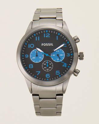 Fossil BQ2124 Rhodium-Tone, Black & Blue Watch