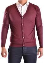 Hosio Men's Burgundy Cotton Cardigan.