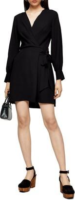 Topshop Faux Wrap Long Sleeve Minidress