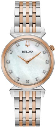 Bulova Women's Diamond Accent Two Tone Stainless Steel Watch - 98P192