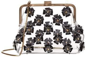 Zac Posen Floral Love Frame Clutch - Glass (Black) Handbags