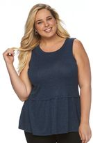 Apt. 9 Plus Size Shredded Knit Drop Waist Tank