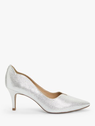 John Lewis & Partners Allina Scalloped Stiletto Heel Court Shoes, Silver
