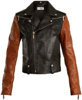 Saint Laurent Contrast shrunken-fit leather biker jacket