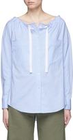 Theory 'Magena' drawstring neckline cotton poplin shirt