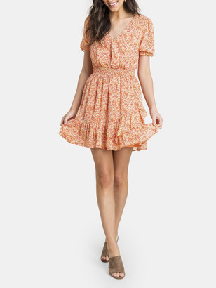 Lush Printed Ruffle Smock Mini Dress