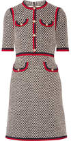 Gucci Grosgrain-trimmed Cotton-blend Tweed Mini Dress - Black
