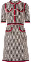 Gucci Grosgrain-trimmed Cotton-blend Tweed Mini Dress - Black