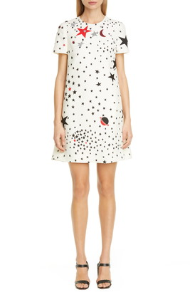 Valentino Embellished Star Print Wool & Silk Shift Minidress