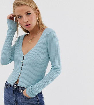 Urban Bliss baby rib button down fitted cardigan-Blue