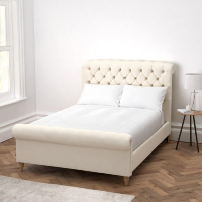 The White Company Aldwych Scroll Deep Buttoned Bed, Pearl Cotton, Double