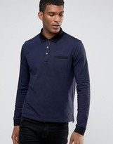 HUGO BOSS Hugo By Long Sleeve Polo Contrast Collar & Cuff