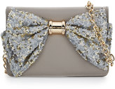 Betsey Johnson Oh Bow Sequined Wallet-On-Chain, Stone
