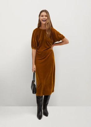 MANGO Flowy velvet dress