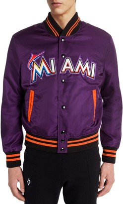 Marcelo Burlon County of Milan Miami Marlins Satin Bomber Jacket