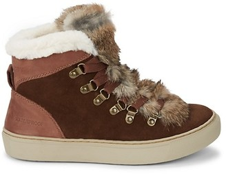 Cougar Iceland Rabbit Fur-Trim & Faux Fur-Lined Suede Sneaker Boots