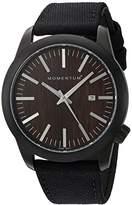 Momentum Men's Quartz Stainless Steel and Canvas Watch, Color:Black (Model: 1M-SP14C6B)