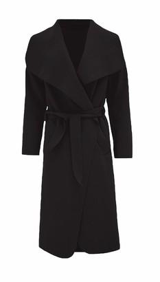 mustwearit Women Italian Trench Waterfall Long Coat Ladies Long Sleeves Belted Duster Cape Jacket Black