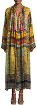 Etro Patchwork-Print Silk Caftan Gown, Brown