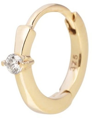 Zohreh V. Jewellery Mini Diamond Solitaire Huggie Hoop Earring 9K Gold