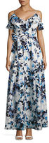 Eliza J Cold-Shoulder Floral-Print Gown