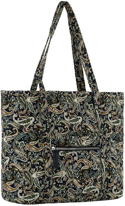 Mkf Collection By Mia K. MKF Collection by Mia K. Women's Totebags Navy/Persimmon - Navy & Persimmon Paisley Quilted Tote