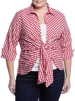 Neiman Marcus Gingham Tie-Front Blouse, Plus Size